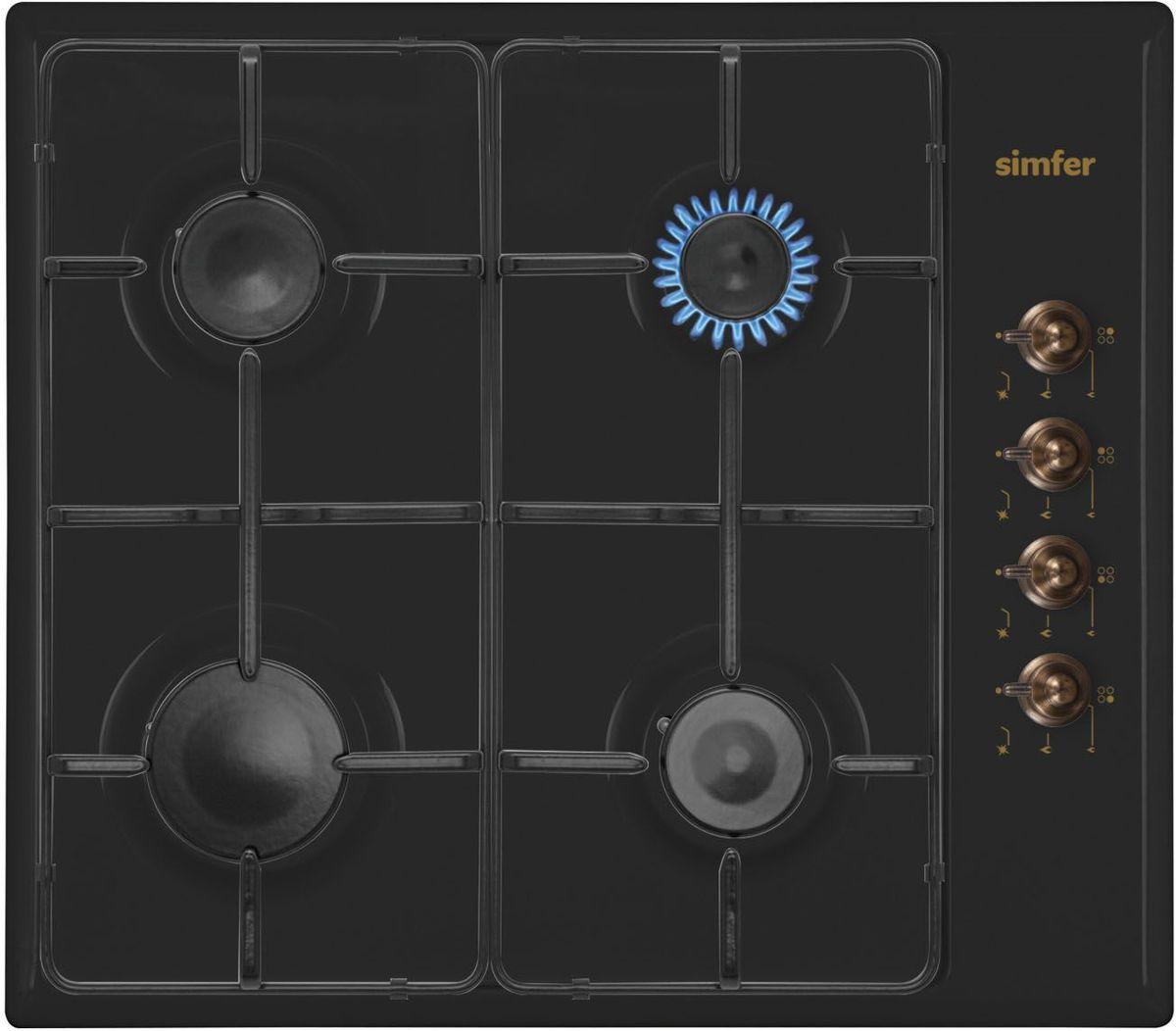 Simfer H60Q40L411 панель варочная газоваяH60Q40L411Газовая варочная панель Simfer H60Q40L411 с чистым пламенем доведет вашу сковороду до нужной температуры без всяких задержек. Включите её и всё днище сковороды будет моментально нагрето. Simfer H60Q40L411 упрощает приготовление и делает его безопаснее благодаря особой форме подставок, обеспечивающих абсолютную устойчивость посуды. Нет способа быстрее и удобнее для того, чтобы разжечь конфорку, чем автоподжиг варочной панели. Просто поверните ручку, чтобы открыть и зажечь газ одним плавным движением.