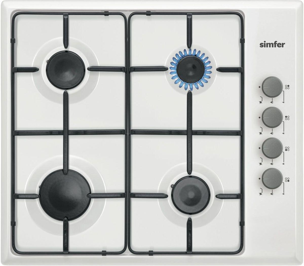 Simfer H60Q40W411 панель варочная газоваяH60Q40W411Газовая варочная панель Simfer H60Q40W411 с чистым пламенем доведет вашу сковороду до нужной температуры без всяких задержек. Включите её и всё днище сковороды будет моментально нагрето. Simfer H60Q40W411 упрощает приготовление и делает его безопаснее благодаря особой форме подставок, обеспечивающих абсолютную устойчивость посуды. Нет способа быстрее и удобнее для того, чтобы разжечь конфорку, чем автоподжиг варочной панели. Просто поверните ручку, чтобы открыть и зажечь газ одним плавным движением.
