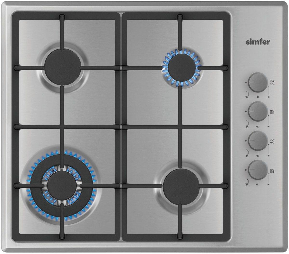 Simfer H60Q41M411 панель варочная газоваяH60Q41M411Газовая варочная панель Simfer H60Q41M411 с чистым пламенем доведет вашу сковороду до нужной температуры без всяких задержек. Включите её и всё днище сковороды будет моментально нагрето. Simfer H60Q41M411 упрощает приготовление и делает его безопаснее благодаря особой форме подставок, обеспечивающих абсолютную устойчивость посуды. Нет способа быстрее и удобнее для того, чтобы разжечь конфорку, чем автоподжиг варочной панели. Просто поверните ручку, чтобы открыть и зажечь газ одним плавным движением.
