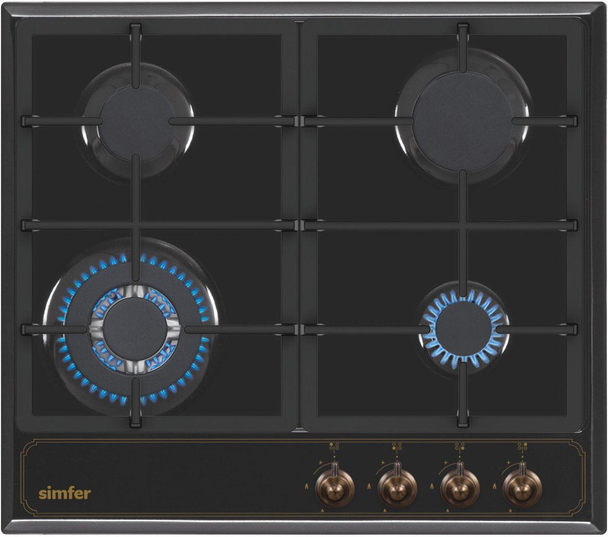 Simfer H60V41L511 панель варочная газоваяH60V41L511Газовая варочная панель Simfer H60V41L511 с чистым пламенем доведет вашу сковороду до нужной температуры без всяких задержек. Включите её и всё днище сковороды будет моментально нагрето. Благодаря идеальному расположению панели управления и индикатора уровня мощности прямо спереди этой варочной панели, любой повар, будь он левша или правша, сможет пользоваться ими с одинаковой лёгкостью. Газовая варочная поверхность Simfer H60V41L511 упрощает приготовление и делает его безопаснее благодаря особой форме подставок, обеспечивающих абсолютную устойчивость посуды. Нет способа быстрее и удобнее для того, чтобы разжечь конфорку, чем автоподжиг варочной панели. Просто поверните ручку, чтобы открыть и зажечь газ одним плавным движением.