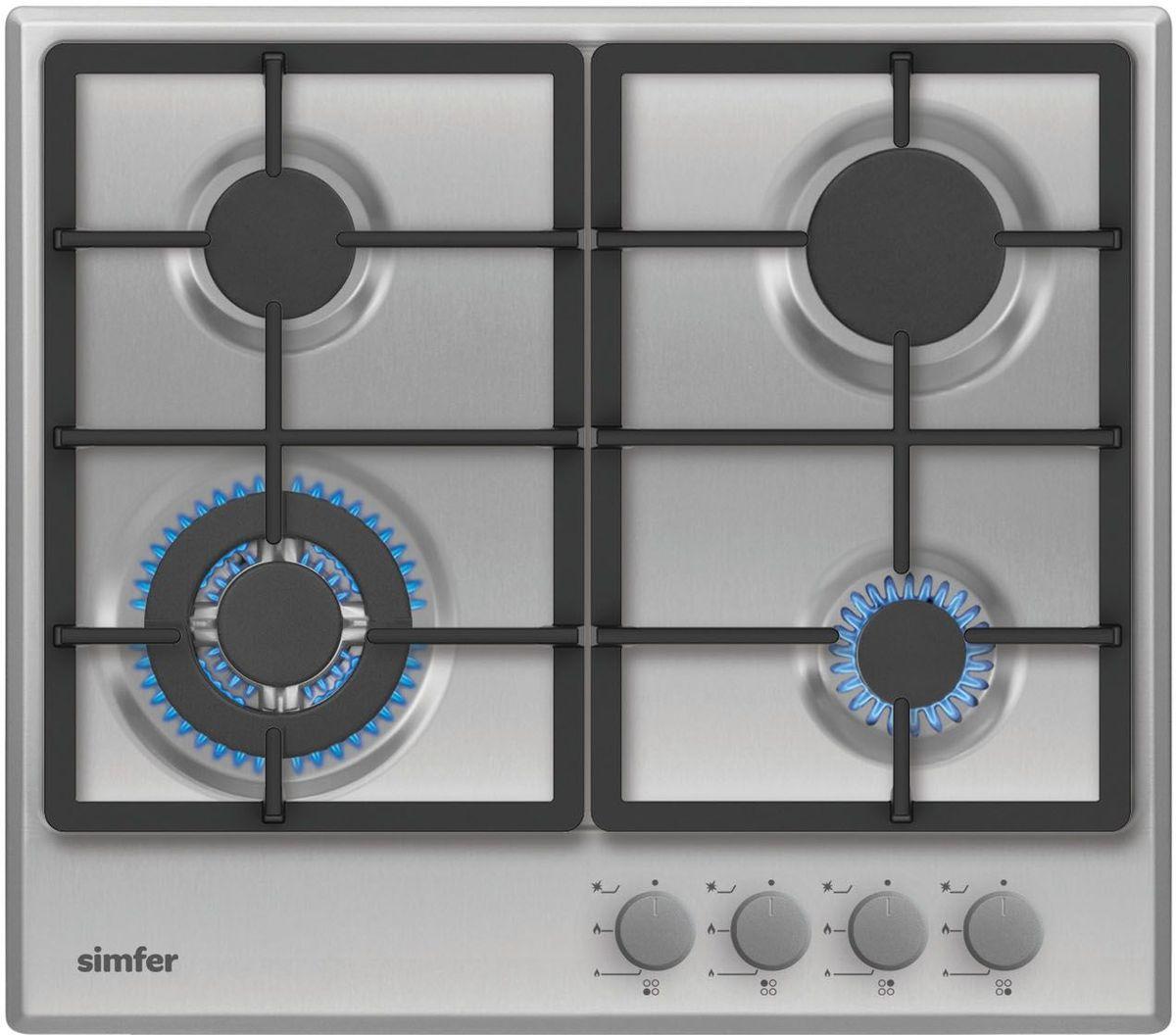 Simfer H60V41M511 панель варочная газоваяH60V41M511Газовая варочная панель Simfer H60V41M511 с чистым пламенем доведет вашу сковороду до нужной температуры без всяких задержек. Включите её и всё днище сковороды будет моментально нагрето. Благодаря идеальному расположению панели управления и индикатора уровня мощности прямо спереди этой варочной панели, любой повар, будь он левша или правша, сможет пользоваться ими с одинаковой лёгкостью. Газовая варочная поверхность Simfer H60V41M511 упрощает приготовление и делает его безопаснее благодаря особой форме подставок, обеспечивающих абсолютную устойчивость посуды. Нет способа быстрее и удобнее для того, чтобы разжечь конфорку, чем автоподжиг варочной панели. Просто поверните ручку, чтобы открыть и зажечь газ одним плавным движением.