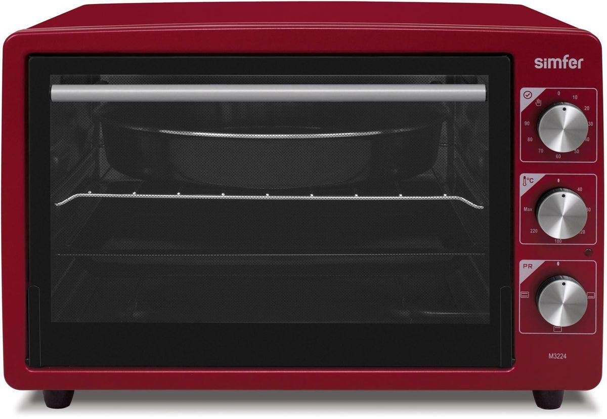 Simfer M3224 мини-печьM3224Simfer M3224 - компактная духовка с внутренним объемом 32 литров. Идеально подходит как для деликатного приготовления пищи, так и для приготовления блюд с хрустящей корочкой. Оснащена механическим таймером и тремя режимами нагрева. Легко очищается, комплектуется решеткой для гриля и противнем для выпекания.