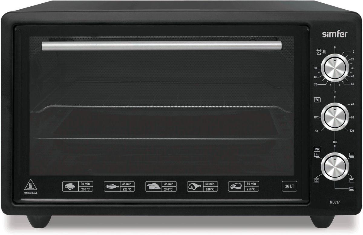 Simfer M3633 мини-печьM3633Simfer M3633 - компактная духовка с внутренним объемом 36 литров. Идеально подходит как для деликатного приготовления пищи, так и для приготовления блюд с хрустящей корочкой. Оснащена механическим таймером и пятью режимами нагрева. Легко очищается, комплектуется решеткой для гриля и противнем для выпекания.