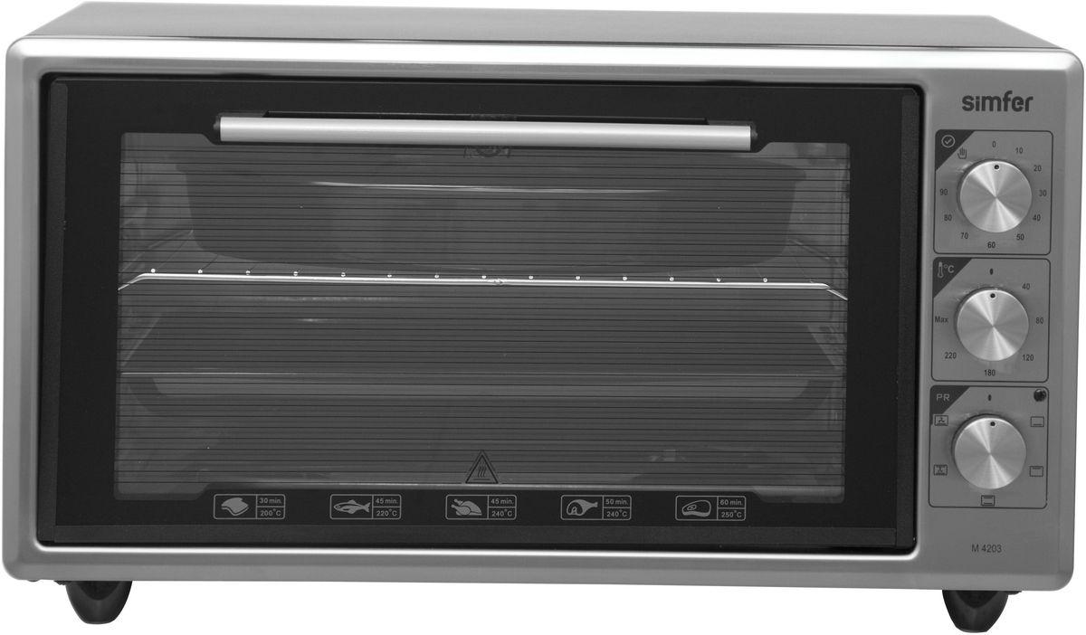 Simfer M4203 мини-печьM4203Simfer M4203 - компактная духовка с внутренним объемом 42 литров. Идеально подходит как для деликатного приготовления пищи, так и для приготовления блюд с хрустящей корочкой. Оснащена звуковым таймером и тремя режимами нагрева. Легко очищается, комплектуется решеткой для гриля и противнем для выпекания.