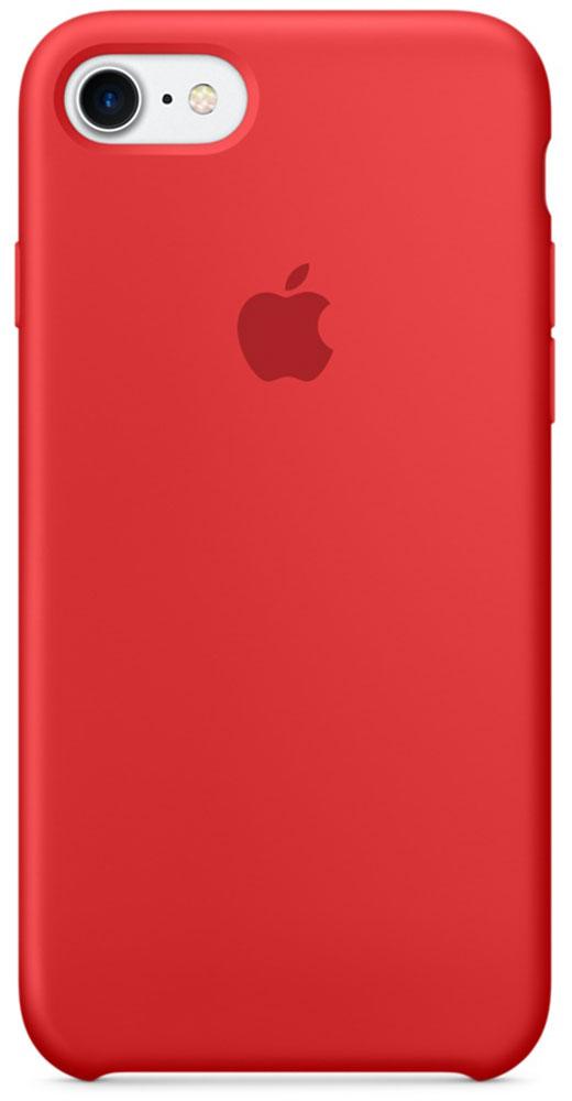 Apple Silicone Case чехол для iPhone 7, RedMMWN2ZM/AApple Silicone Case плотно прилегает к кнопкам громкости и режима сна, точно повторяет контуры телефона, но при этом не делает его громоздким. Мягкая подкладка из микроволокна защищает корпус iPhone. А его внешняя силиконовая поверхность очень приятна на ощупь.
