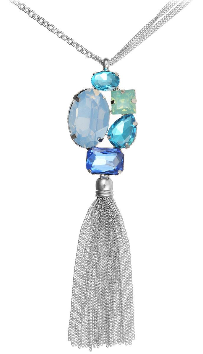 Ожерелье Модные истории, цвет: серебристый, голубой. 12/100812/1008Стильная подвеска Модные истории изготовлена из металлического сплава и выполнена в виде цепочек разного размера. Декоративный элемент дополнен стеклянными вставками в виде камня. Нижняя часть выполнена в виде кисточки из цепочек. Изделие застегивается с помощью замка-карабина, а длина регулируется с помощью звеньев.
