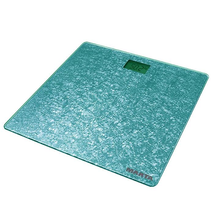Marta MT-1679, Light Blue Aquamarine весы напольныеMT-1679Marta MT-1679 - электронные напольные весы с платформой из полированного стекла, закругленными краями и жидкокристаллическим дисплеем с легко читаемыми цифрами. Marta MT-1679 обеспечивают взвешивание до 180 килограммов с точностью до 100 граммов и способны работать в различных единицах измерения. Для экономии заряда батарей весы отключаются автоматически, если не используются, а индикаторы перегрузки и замены батареи сделают работу весов бесперебойной в течение длительного времени. Благодаря разнообразию расцветок и привлекательному дизайну весы легко впишутся в любой интерьер.