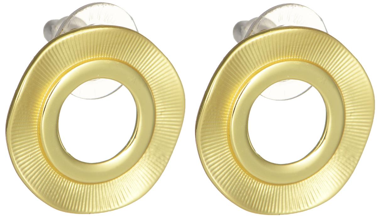Серьги Модные истории, цвет: золотистый. 15/047815/0478Стильные серьги Модные истории выполнены из бижутерийного сплава с гальваническим покрытием. Изделие оформлено в виде волнистой круглой формы с отверстием, покрытие эмаль. Модель застегивается на практичный замок- гвоздик с фиксаторами. Оригинальные серьги придадут вашему образу изюминку, подчеркнут индивидуальность.