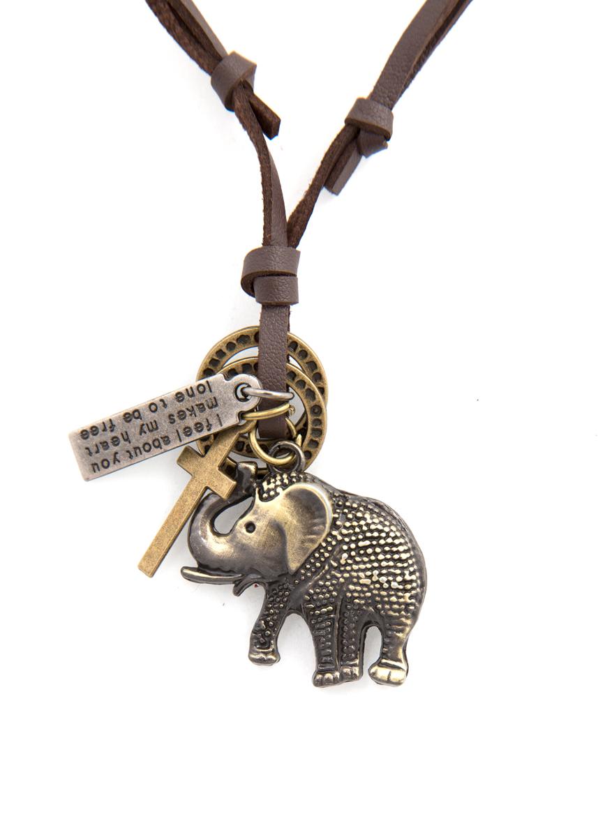 Кулон Mitya Veselkov Слон и крест, цвет: бронзовый. PDV-143PDV-143Стильный кулон Mitya Veselkov Слон и крест выполнен из металлического сплава, дополнен текстильным шнурком.