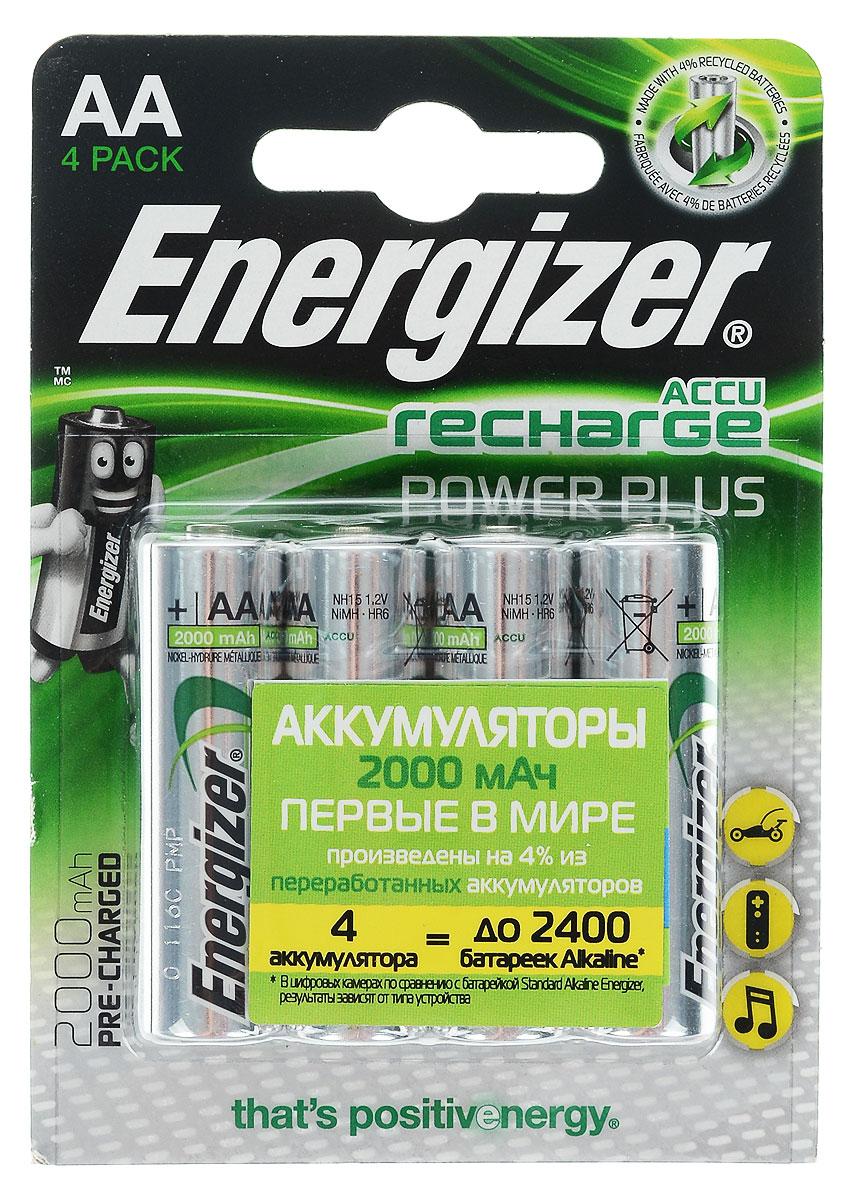 Аккумулятор Energizer Rech Power Plus, тип AA, 2000 mAh, 1,2V, 4 штE300324000/638622/635178/632976Аккумуляторы Energizer Rech Power Plus – это комплект универсальных аккумуляторов для постоянной работы во всех часто используемых устройствах. Особенности аккумуляторов Energizer Rech Power Plus: - Аккумуляторы предварительно заряжены. - 4 аккумулятора типоразмера АА заменяют до 2400 обычных щелочных батареек. - Длительный срок службы – до 225 цифровых фотографий с одной зарядки при использовании аккумуляторов типоразмера AA. - Аккумуляторы выдерживают 700 циклов заряда, основано на стандартах МЭК. - Работают при температуре от 0 °С до +50 °С. Размер аккумулятора: 5 х 1,5 см.