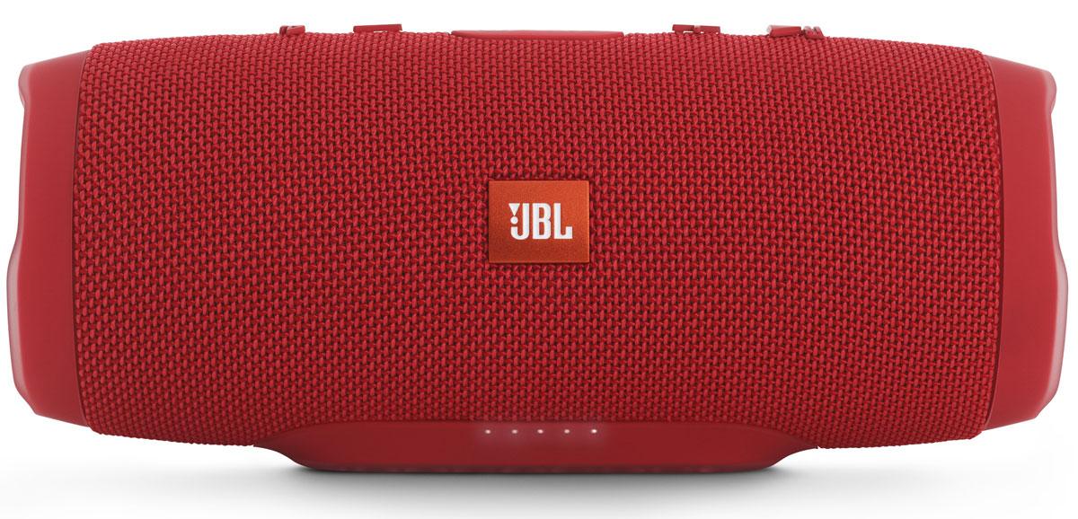 JBL Charge 3, Red портативная акустическая системаCHARGE3REDEUУникальная беспроводная портативная акустическая система JBL Charge 3 гарантирует мощный стерео-звук и источник энергии в одном устройстве. Благодаря водонепроницаемому прорезиненному тканевому корпусу вечеринку с Charge 3 можно устроить в любом месте - у бассейна и даже под дождем. Аккумулятор высокой емкости на 6000 мАч гарантирует бесперебойную работу в течение 15 часов и позволяет заряжать смартфоны и планшеты по USB. Встроенный микрофон с шумо- и эхоподавлением гарантирует идеально чистый звук во время телефонных разговоров по нажатию одной кнопки. Подключайте дополнительные колонки с поддержкой JBL Connect по беспроводному соединению для еще более мощного звука.