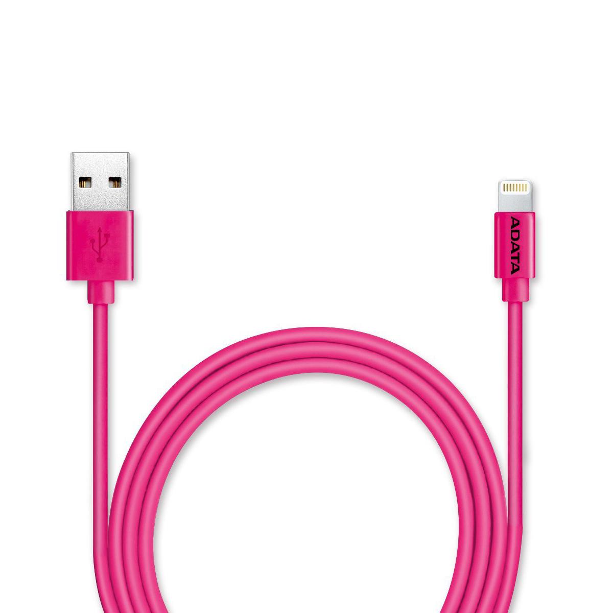 ADATA Lightning-USB MFI, Pink кабель (1 м)21703Кабель ADATA Lightning-USB MFI, для зарядки и синхронизации с сертификатом MFi от компании ADATA позволит вам без проблем заряжать устройства iPhone, iPad и iPod и выполнять синхронизацию данных между устройствами для поддержания высокой мобильности вашей жизни! Имеющий прочную многослойную структуру с использованием луженых медных проводников, надежный и долговечный кабель зарядки и синхронизации Apple Lightning обеспечивает быструю зарядку током до 2,4А и эффективную защиту от вредных электромагнитных помех. Кабель зарядки и синхронизации Apple Lightning - это стильный мобильный аксессуар, выпускаемый в нескольких ярких цветных и металлизированных вариантах, включая варианты с подобранным по цвету кабельным хомутом, обеспечивающим удобство укладки кабеля.
