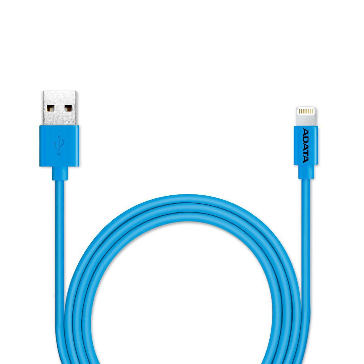 ADATA Lightning-USB MFI, Blue кабель (1 м)21702Кабель ADATA Lightning-USB MFI, для зарядки и синхронизации с сертификатом MFi от компании ADATA позволит вам без проблем заряжать устройства iPhone, iPad и iPod и выполнять синхронизацию данных между устройствами для поддержания высокой мобильности вашей жизни! Имеющий прочную многослойную структуру с использованием луженых медных проводников, надежный и долговечный кабель зарядки и синхронизации Apple Lightning обеспечивает быструю зарядку током до 2,4А и эффективную защиту от вредных электромагнитных помех. Кабель зарядки и синхронизации Apple Lightning - это стильный мобильный аксессуар, выпускаемый в нескольких ярких цветных и металлизированных вариантах, включая варианты с подобранным по цвету кабельным хомутом, обеспечивающим удобство укладки кабеля.