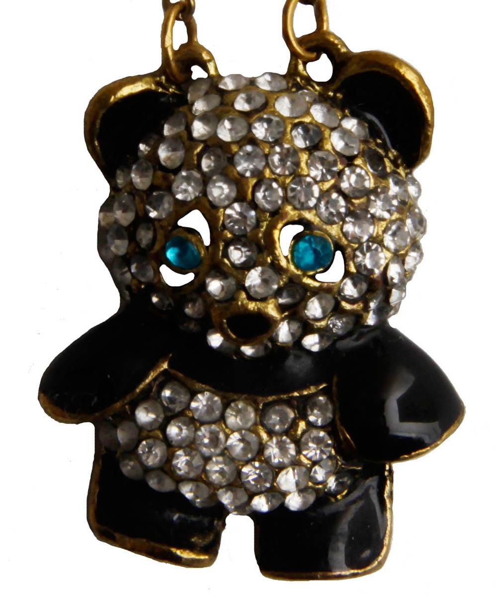 Подвеска Мишка. Бижутерный сплав, эмаль, австрийские кристаллы. Корея, конец XX векаОС28310