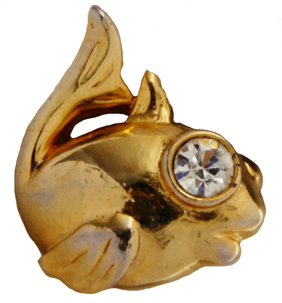 Брошь Золотая рыбка. Бижутерный сплав, австрийские кристаллы. США, конец XX векаОС28316
