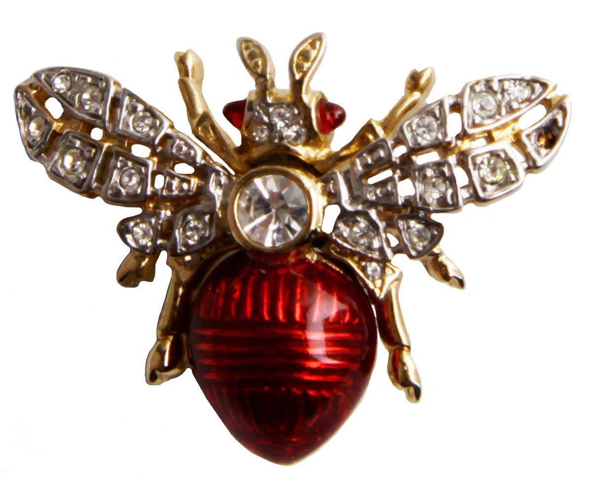 Брошь Мушка. Бижутерный сплав, австрийские кристаллы, эмаль. США, конец XX векаОС28317