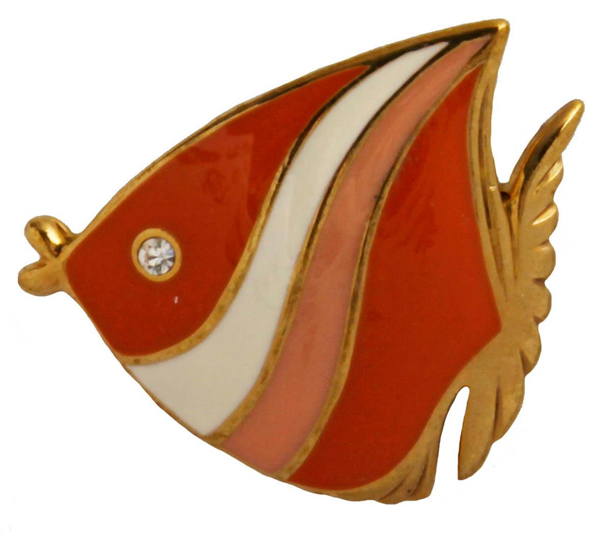 Брошь Рыба. Бижутерный сплав, австрийские кристаллы, эмаль. США, конец XX векаОС28318