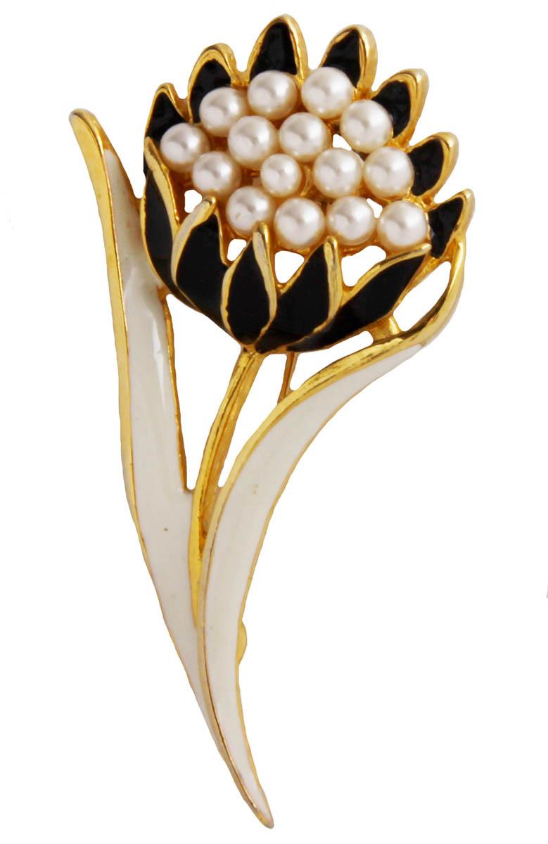 Брошь Цветок. Бижутерный сплав, жемчуг искусственный, эмаль. США, конец XX векаОС28319