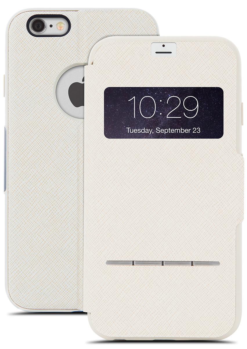 Moshi SenseCover чехол для iPhone 6/6s, Beige21772Чехол Moshi SenseCover для iPhone 6/6s обеспечивает смарт-функциональность и полную защиту вашего iPhone. Встроенные SensArray кнопки- подушечки позволяют отвечать на звонки, не открывая крышку. Кроме того, окно просмотра, устойчивое к царапинам, позволяет проверить такую информацию, как дата / время и номер вызывающего абонента с одного взгляда. Чехол легко трансформируется в подставку, создавая комфорт при работе, чтении, просмотре фильмов.