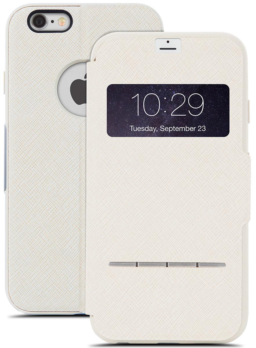 Moshi SenseCover чехол для iPhone 6 Plus/6s Plus, Beige21774Чехол Moshi SenseCover для iPhone 6 Plus/6s Plus обеспечивает смарт-функциональность и полную защиту вашего iPhone. Встроенные SensArray кнопки-подушечки позволяют отвечать на звонки, не открывая крышку. Кроме того, окно просмотра, устойчивое к царапинам, позволяет проверить такую информацию, как дата / время и номер вызывающего абонента с одного взгляда. Чехол легко трансформируется в подставку, создавая комфорт при работе, чтении, просмотре фильмов.