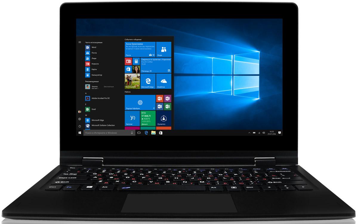 BB-mobile Techno W11.6 WiFi 360° Convertible, Grey White (I900BH)I900BHBB-mobile Techno W11.6 WiFi 360° Convertible — уникальный по своей эргономике планшет — универсальное и многофункциональное устройство. Планшет хорошо подойдёт как для учёбы или работы, так и в качестве домашнего девайса для просмотра фильмов, интернет-серфинга или несложных игр. Планшетный компьютер построен на производительной аппаратной платформе Intel Atom Z8300 Cherry Trail, в состав которой входит четырехъядерный 64-битный процессор и 2 ГБ оперативной памяти. Для установки приложений и хранения данных предусмотрено 32 ГБ флеш-памяти. Два USB порта позволяют подключать периферийные устройства, в том числе жесткие диски и флешки. Клавиатура данной модели способна поворачиваться на 360 градусов. Благодаря этому планшет может выступать как в роли привычного всем ноутбука, так и планшетного компьютера, книги, консоли, устройства для демонстрации презентаций и многого другого. Эргономичная клавиатура также оснащена полноценным тачпадом,...