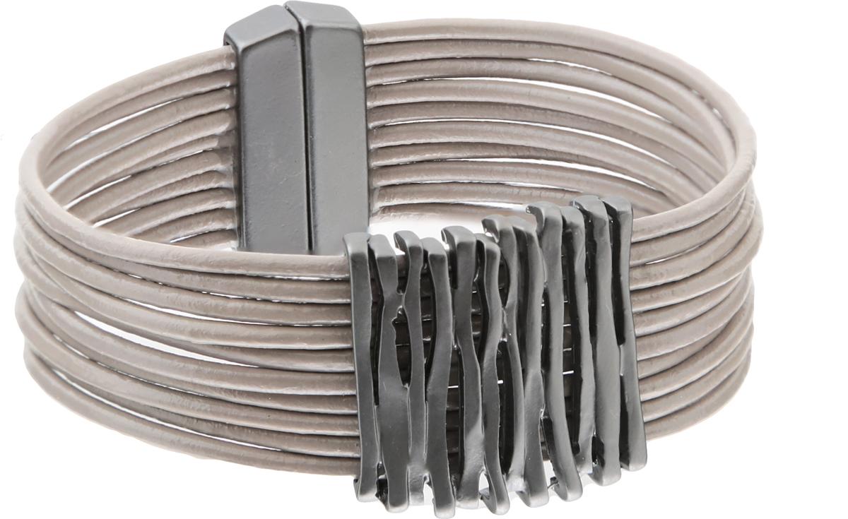 Браслет Инга. Натуральная кожа, гипоаллергенный бижутерный сплав серебряного тона. Krikos, Китай40060900Браслет Инга. Натуральная кожа, гипоаллергенный бижутерный сплав серебряного тона. Krikos, Китай. Размер - полная длина 18 см. Магнитный замок.