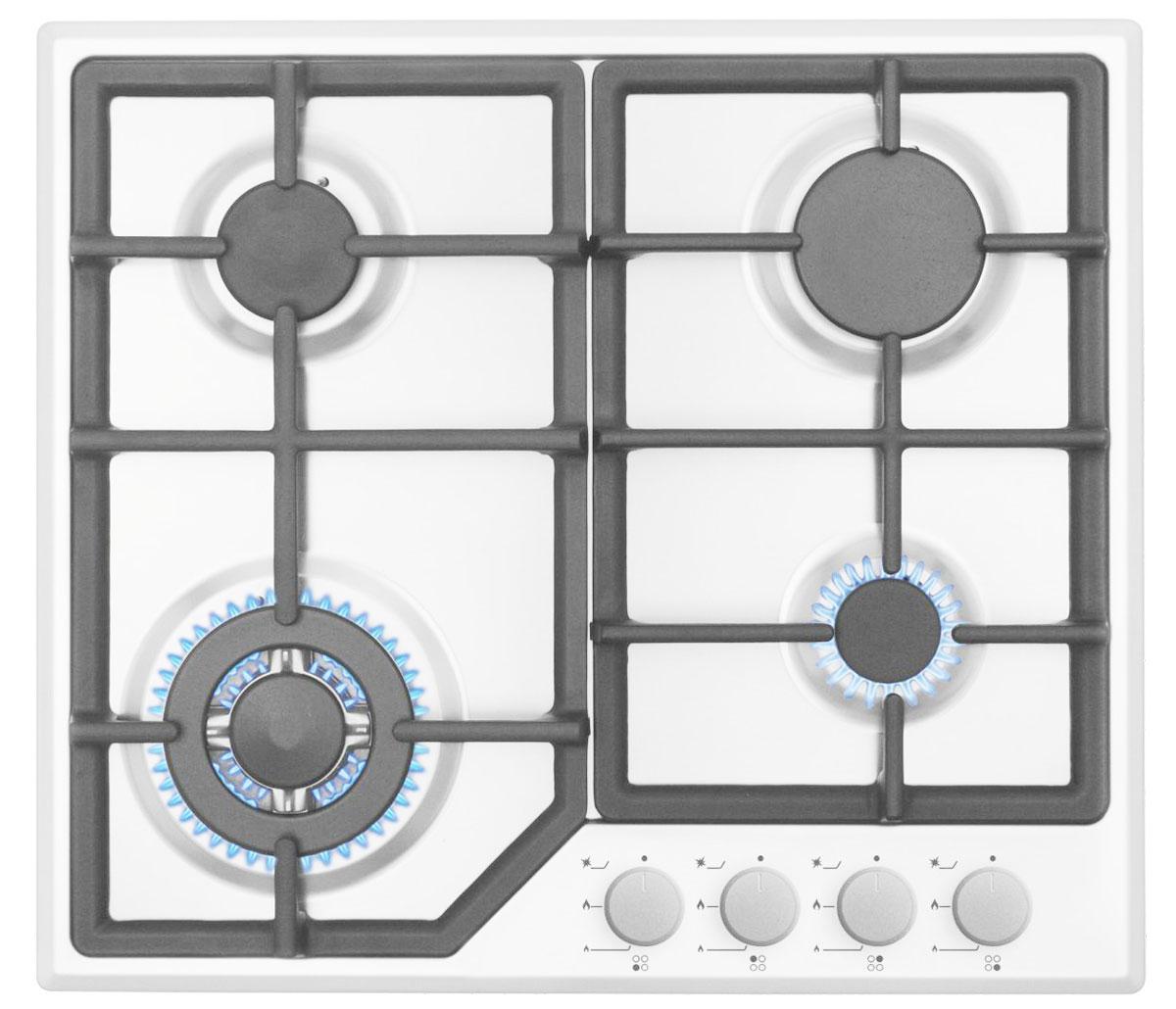Simfer H60M41W412 панель варочная газоваяH60M41W412Simfer H60M41W412 - независимая газовая варочная поверхность с 4 конфорками различной мощности и удобной фронтальной панелью управления. Данная модель имеет функцию автоматического розжига для дополнительного удобства в повседневном использовании. WOK конфорка 3600 Вт 2 стандартные конфорки 1750 Вт 1 экономичная конфорка 1000 Вт