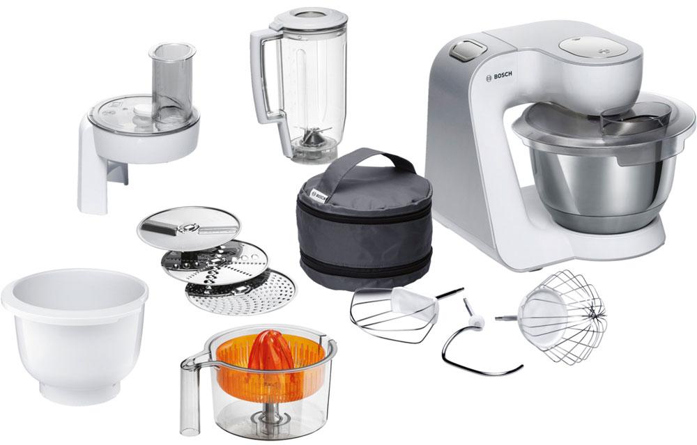 Bosch MUM58243 кухонный комбайнMUM58243Bosch MUM58243 - мощная кухонная машина с многосторонними возможностями для готовки и выпечки. Данная модель легко обрабатывает большие количества ингредиентов (до 1 кг муки плюс ингредиенты) благодаря мощному мотору 1000 Вт. Отличное качество замеса теста благодаря особой форме внутренней поверхности чаши и благодаря планетарному вращению насадок в трех плоскостях 3D. Возможно замесить до 2,7 кг легкого теста/ 1,9 кг дрожжевого теста. Прибор просто и удобно использовать благодаря функции автоматического поднятия рычага EasyArmLift. Функция автопарковки упрощает процесс смены насадок. Широкие возможности: насадки для взбивания крема, замеса теста, шинковки овощей, блендер для смешивания напитков, пресс для цитрусовых, а также дополнительная рабочая чаша. Прибор легко чистить благодаря гладкой поверхности. А насадки можно мыть в посудомоечной машине.