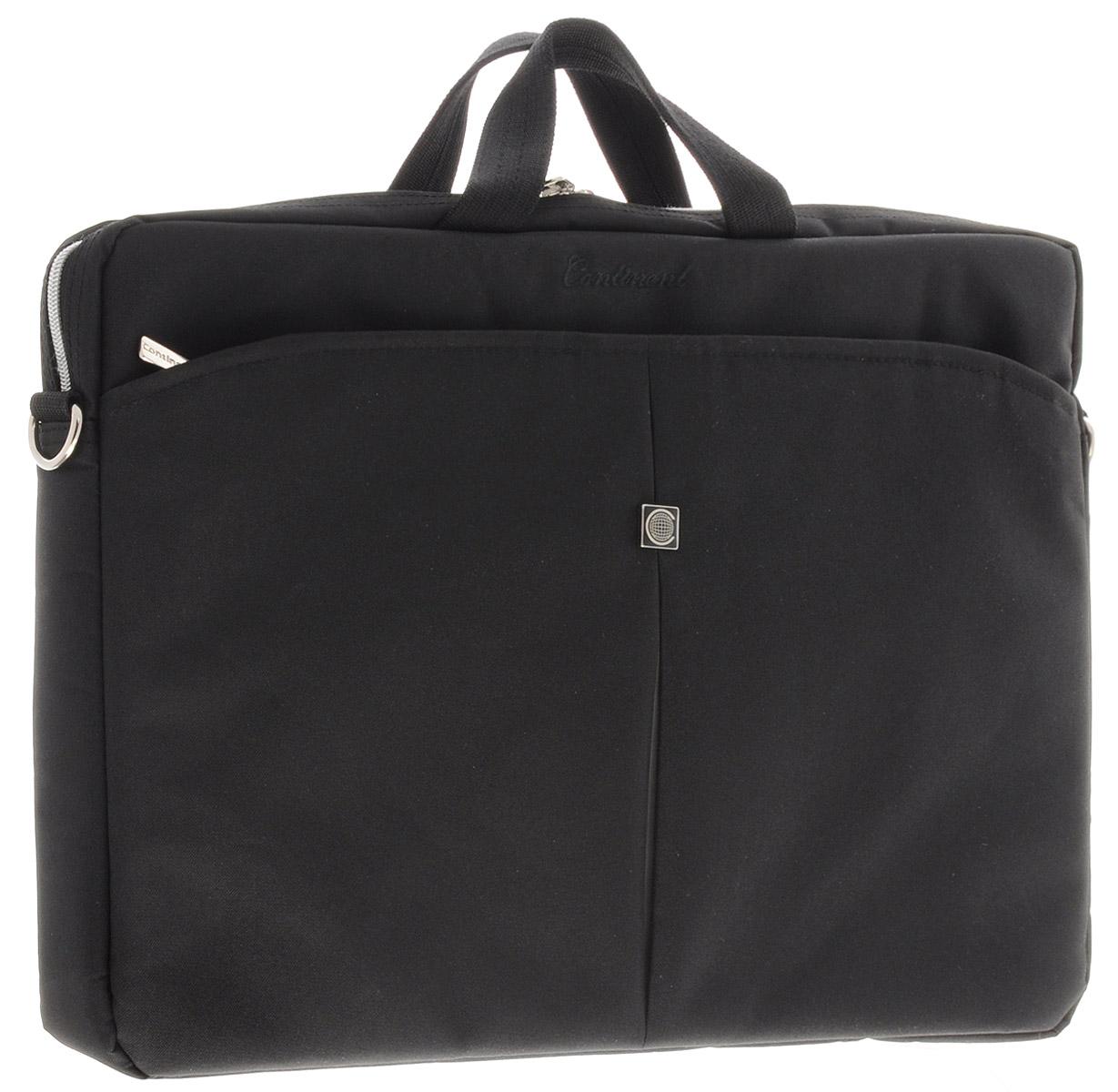 Continent CC-01, Black Silver сумка для ноутбука 15,6CC-01 Black/SilverЛегкая сумка для ноутбука Continent CC-01 с вертикальной загрузкой. Стенки сделаны из пенообразного материала для защиты ноутбука. Карман-органайзер застегивается на молнию. Удобный плечевой ремень.