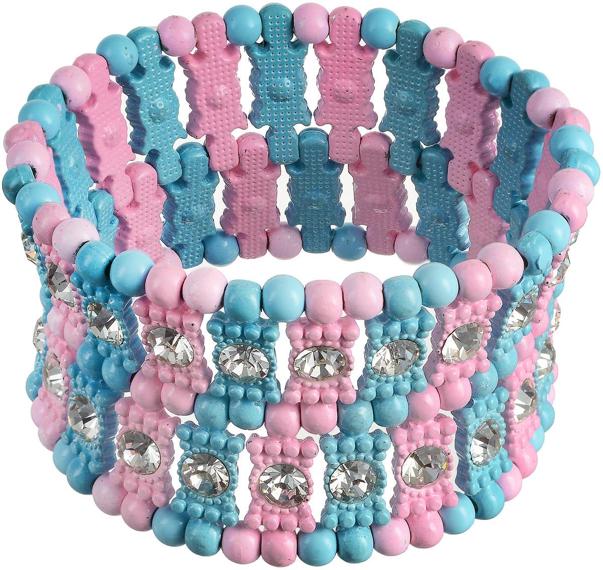 Браслет Fashion House, цвет: розовый, голубой. FH30587FH30587Великолепный браслет Fashion House выполнен на резинке в виде плоских разноцветных пластин и бусин, которые украшены стразами. Браслет придется по вкусу даже самой привередливой моднице!