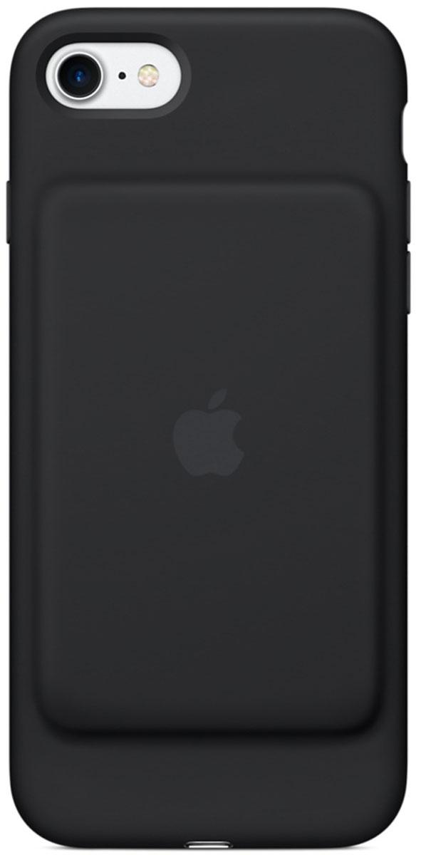Apple Smart Battery Case чехол для iPhone 7, BlackMN002ZM/AЧехол Smart Battery Case разработан специально для увеличения заряда аккумулятора и защиты iPhone 7. Мягкая подкладка из микроволокна защищает корпус iPhone, а его внешняя силиконовая поверхность очень приятна на ощупь. Чехол сделан из мягкого эластомерного материала, поэтому его легко надевать и снимать. Одновременно заряжая iPhone и чехол с аккумулятором, вы получите возможность говорить по телефону до 26 часов, работать в интернете через LTE до 22 часов и ещё дольше слушать музыку и смотреть видео. Когда iPhone находится в чехле Smart Battery Case, на экране блокировки и в Центре уведомлений отображается индикатор аккумулятора с точными данными об остатке заряда. Чехол поддерживает аксессуары с разъёмом Lightning, например кабель Lightning/USB (входит в комплект поставки iPhone). Его также можно использовать с док-станцией для iPhone с разъёмом Lightning (продаётся отдельно).