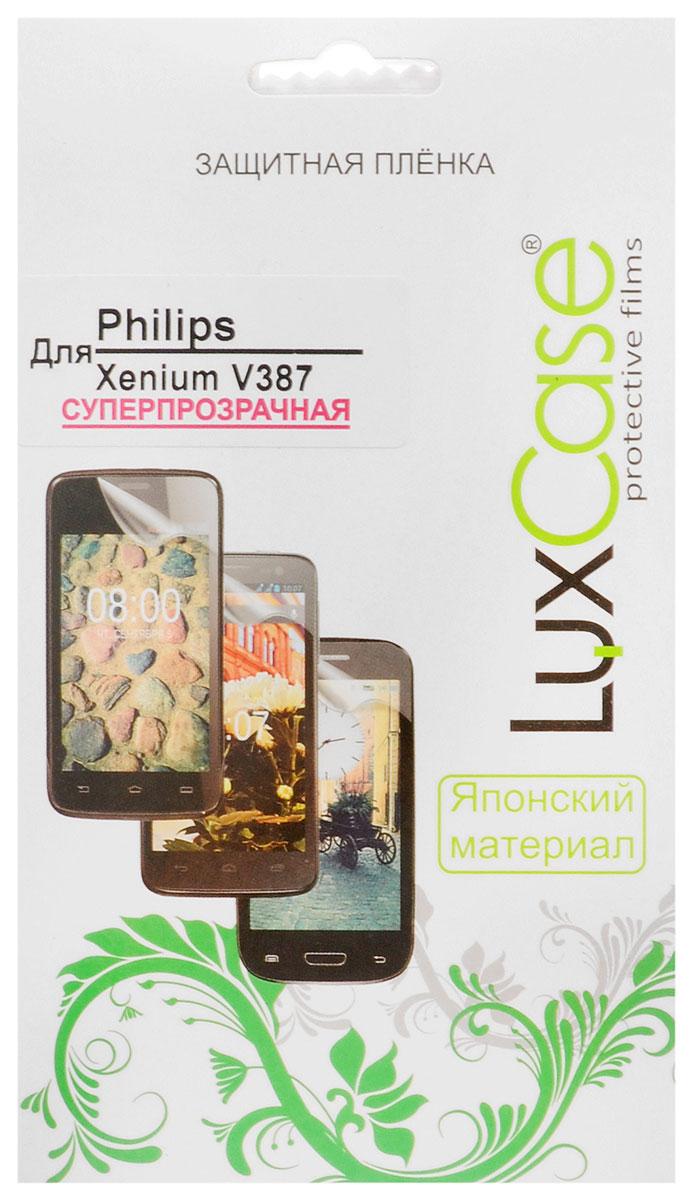 Luxcase защитная пленка для Philips Xenium V387, суперпрозрачная50359Защитная пленка Luxcase для Philips Xenium V387 сохраняет экран смартфона гладким и предотвращает появление на нем царапин и потертостей. Структура пленки позволяет ей плотно удерживаться без помощи клеевых составов и выравнивать поверхность при небольших механических воздействиях. Пленка практически незаметна на экране смартфона и сохраняет все характеристики цветопередачи и чувствительности сенсора.