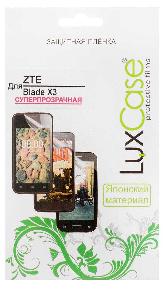 LuxCase защитная пленка для ZTE Blade X3, суперпрозрачная51433Защитная пленка Luxcase для ZTE Blade X3 сохраняет экран смартфона гладким и предотвращает появление на нем царапин и потертостей. Структура пленки позволяет ей плотно удерживаться без помощи клеевых составов и выравнивать поверхность при небольших механических воздействиях. Пленка практически незаметна на экране смартфона и сохраняет все характеристики цветопередачи и чувствительности сенсора.