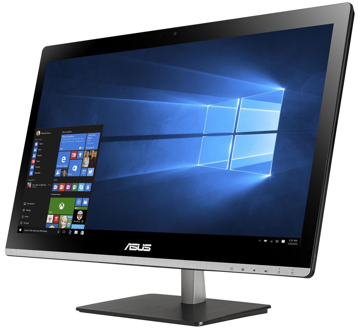 Asus Vivo AiO V220ICGT, Black моноблок (V220ICGT-BG023X)V220ICGT-BG023XВ тонком и компактном корпусе моноблока Asus Vivo AiO V220ICGT разместились все компоненты современного компьютера - дисплей, процессор, видеокарта, память, диск и многое другое. Функциональность и компактность. Это основные принципы, применяемые Asus в проектировании настольных ПК. Современный моноблок - это компактное устройство с полным набором возможностей настольного компьютера. Благодаря тонкому корпусу он не занимает много места на столе, способствуя созданию уютной обстановки в помещении. Стильная серебристая подставка, используемая в моноблоке Asus Vivo AiO V220ICGT, придает ему дополнительную изящность. Уникальный шарнирный механизм спрятан под задней панелью, что делает внешний вид устройства еще более утонченным и органичным. Данная модель обладает ультратонким экраном со светодиодной подсветкой, обеспечивающим высокую яркость и контрастность изображения. Благодаря широким углам обзора матрицы картинка на экране моноблока...