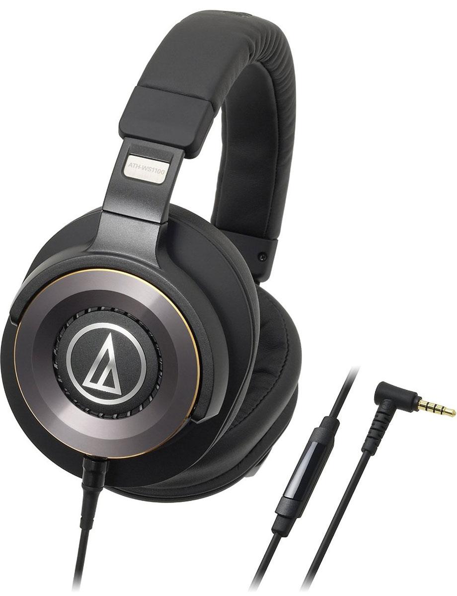 Audio-Technica ATH-WS1100iS, Black наушники10102368Гарнитура Audio-Technica ATH-WS1100iS серии Solid Bass использует большие 53-миллиметровые драйверы Deep Motion Hi-Res Audio, разработанные с эксклюзивным ультрамощным магнитным контуром. Наушники имеют двойной алюминиевый корпус со специальной вентиляционной системой для передачи прозрачных и при этом сочных басов. Audio-Technica ATH-WS1100iS оснащены встроенным микрофоном и пультом управления громкостью, а также воспроизведением и перемоткой треков, проигрываемых с Apple- или Android-гаджетов. Пульт также позволяет принимать звонки. Диапазон частот микрофона: 100-10000 Гц Чувствительность микрофона: -44 дБ