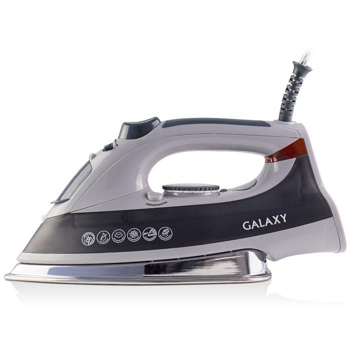 Galaxy GL 6103 утюг4630003364531Современный утюг Galaxy GL 6103 облегчает уход за одеждой и безусловно порадует вас своими поистине безграничными возможностями. Ультрагладкая подошва утюга GL 6103 из нержавеющей стали обеспечивает идеальное скольжение и избавит ваши вещи даже от самых сложных складок. Прибор обладает всеми необходимыми характеристиками для отличного результата: сухое глажение, отпаривание с регулировкой, функция разбрызгивания, возможность вертикального отпаривания. Модель оснащена функциями парового удара и самоочистки, а также системами анти-капля и анти-накипь. Сетевой шнур длиной 2 метра крепится при помощи шарового механизма, что не позволяет ему запутаться во время эксплуатации. Силиконовый уплотнитель крышки резервуара Указатель максимального уровня воды Индикатор нагрева