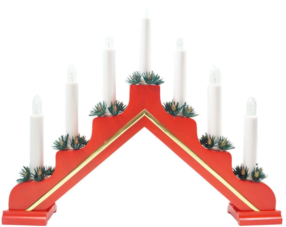 Горка рождественская Svetlitsa Рождество Люкс, цвет: красный. 16-280-4516-280-457 свечей выс/шир. 31х39 см, красный, провод 1,8 м