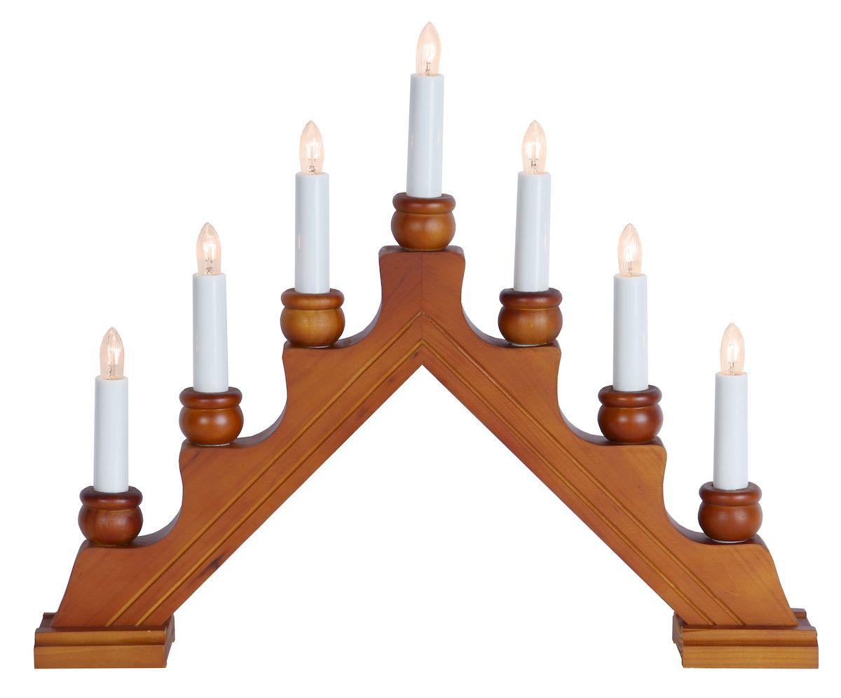 Горка рождественская Svetlitsa Karin-7, цвет: светло-коричневый. 16-276-0616-276-06Рождественская горка Svetlitsa «Karin-7» 7 ламп накаливания Высота х ширина - 23 х 42 см Материал: бук Длина провода: 1,8 м