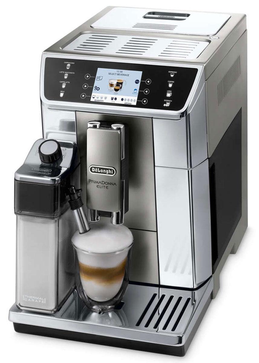 DeLonghi PrimaDonna Elite ECAM 650.55.MS кофемашина0132217029Наслаждайтесь простотой использования и функциональностью уникальных кофемашин DeLonghi Primadonna Elite. Идеальное сочетание динамичного дизайна, уникальных технологий приготовления кофе и простоты использования. PrimaDonna Elite - это новое поколение автоматических кофемашин DeLonghi, способных удовлетворить желания самого взыскательного любителя кофе. Кофемашина PrimaDonna Elite воплощает в себе весь накопленный опыт, ноу-хау и технологии от мирового лидера среди кофемашин для приготовления эспрессо. Мелкий равномерный помол является обязательным условием получения наилучшего вкуса и аромата. Стальные кофемолки конической формы от компании DeLonghi настраиваются со 100% точностью и проходят проверку, чтобы обеспечивать получение безупречного помола. Степень помола регулируется вручную в соответствии с вашими личными предпочтениями и особенностями кофейного бленда. Обязательным условием получения и сохранения истинного вкуса...