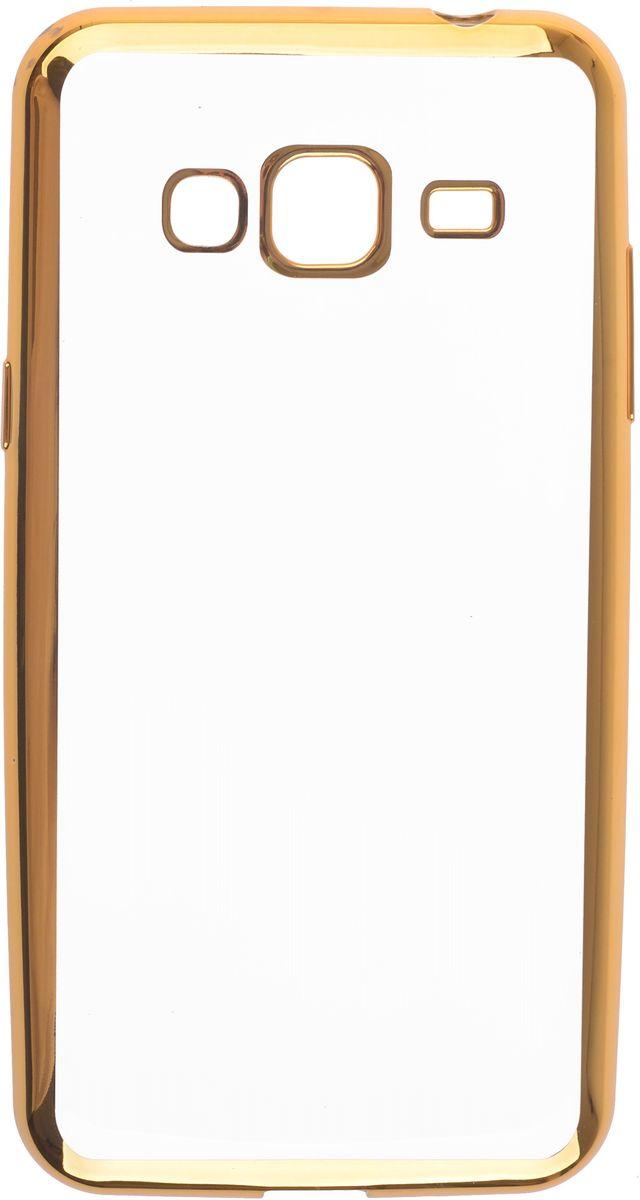 Skinbox 4People Silicone Chrome Border чехол-накладка для Samsung Galaxy J3 (2016), Gold2000000105444Чехол Skinbox 4People Silicone Chrome Border надежно защищает ваш смартфон от внешних воздействий, грязи, пыли, брызг. Он также поможет при ударах и падениях, не позволив образоваться на корпусе царапинам и потертостям. Чехол обеспечивает свободный доступ ко всем функциональным кнопкам смартфона и камере.