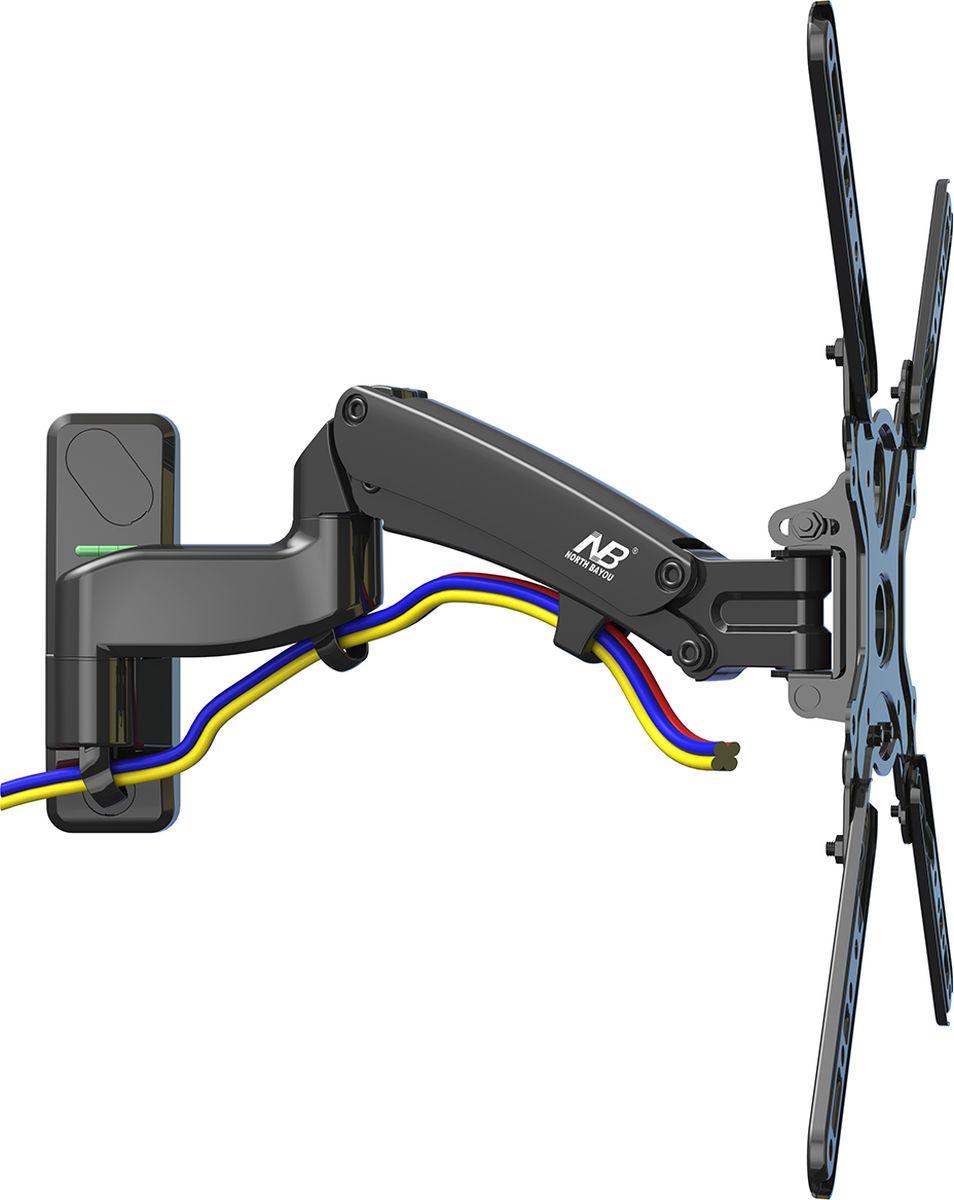 North Bayou NB F500, Black кронштейнNB F500 чёрныйНастенный наклонно-поворотный кронштейн с регулировкой по высоте North Bayou NB F500 подходит для телевизоров с диагональю 50-60 и с весом от 14 до 23 кг. Благодаря встроенной газовой пружине вы можете с лёгкостью перемещать телевизор не только влево и вправо, но и вверх, и вниз, при этом не прилагая усилий и не производя дополнительной фиксации. Именно технологии надёжных осевых соединений с газовой пружиной позволят вам отрегулировать положение телевизора для самого комфортного просмотра. Встроенный кабель-канал позволяет расположить провода внутри кронштейна, что придает эстетический вид всей конструкции.