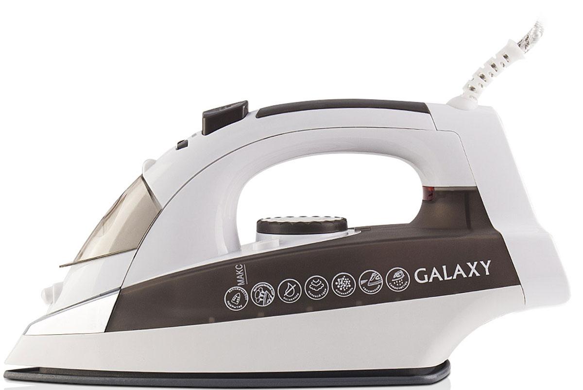 Galaxy GL 6117 утюг4630003367037Современный утюг Galaxy GL 6117 облегчает уход за одеждой и безусловно порадует вас своими поистине безграничными возможностями. Ультрагладкая подошва утюга GL 6117 с керамическим покрытием обеспечивает идеальное скольжение и избавит ваши вещи даже от самых сложных складок. Прибор обладает всеми необходимыми характеристиками для отличного результата: сухое глажение, отпаривание с регулировкой, функция разбрызгивания, возможность вертикального отпаривания. Модель оснащена функциями парового удара и самоочистки, а также системами антикапля и антинакипь. Сетевой шнур длиной 2 метра крепится при помощи шарового механизма, что не позволяет ему запутаться во время эксплуатации. Силиконовый уплотнитель крышки резервуара Индикатор нагрева