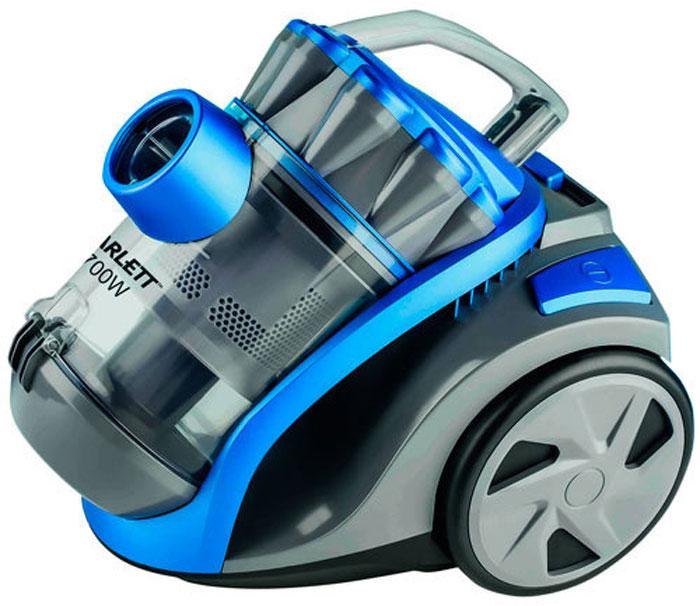 Scarlett SC-VC80C03, Sky Blue пылесосSC-VC80C03Компактный размер и легкий вес пылесоса Scarlett SC-VC80C03 позволяют использовать его для уборки комнат, лестниц в доме, а также уборки машин. Оснащен большим контейнером для сбора пыли. Такой пылесборник легко очистить - достаточно просто высыпать содержимое в мусорное ведро. Система Мультициклон обеспечивает максимальную мощность всасывания в процессе уборки.