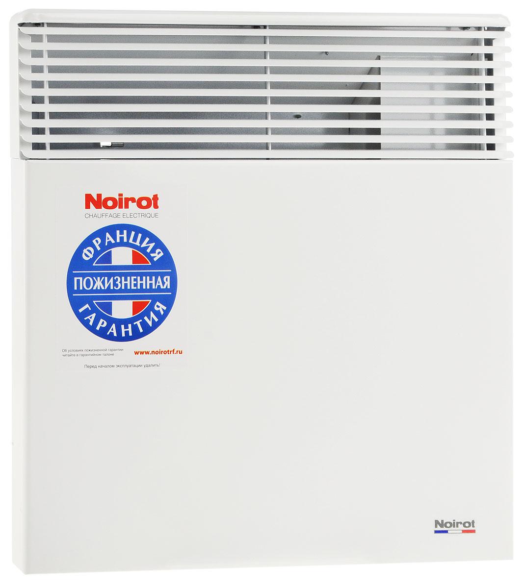 Noirot Spot E-5 1000W обогревательHYH1173FDFSNoirot Spot E-5 - это электрический обогреватель конвективного типа. Вся конструкция направлена на равномерное распределение тепла для обогрева с максимальным комфортом. Конвектор работает по принципу естественной конвекции. Холодный воздух, проходя через прибор и его нагревательный элемент, нагревается и выходит сквозь решетки-жалюзи, незамедлительно начиная обогревать помещение. Конструктивные особенности конвекторов серии Spot E-5 исключают возникновение посторонних шумов при нагреве и остывании электрических обогревателей и гарантируют полную безопасность в эксплуатации (отсутствие острых углов, нагрев поверхности не выше 60°С). Обогреватели серии оснащены электронным цифровым термостатом ASIC, который поддерживает температуру с точностью до 0,1°С. Высокая точность поддержания температуры приводит к экономии электроэнергии, увеличению срока службы прибора и созданию максимального комфорта в помещении без скачков температуры. ...