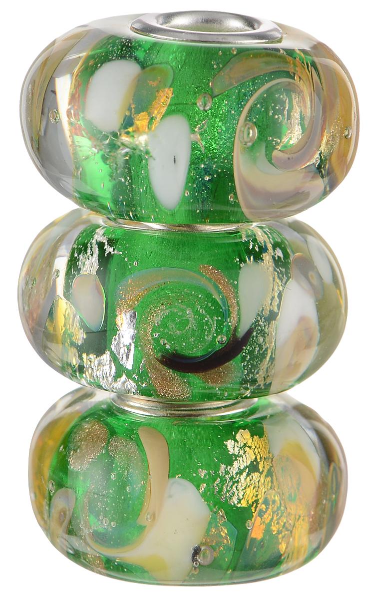 Европейские бусины Изумрудные облака, 3 штуки, цвет: зеленый, бежевый, серебряный. Ручная авторская работа. PDD016PDD016Стильные бусины ручной работы Изумрудные облака не оставят вас равнодушной, благодаря своему дизайну. Они изготовлены из стекла, а металлическая фурнитура выполнена в стиле Пандора. Этот цвет европейских бусин - из глубины высокогорного озера, а в зеркале чистейшей воды - изумрудные облака. Такие бусины помогут вам создать свои собственные яркие украшения.