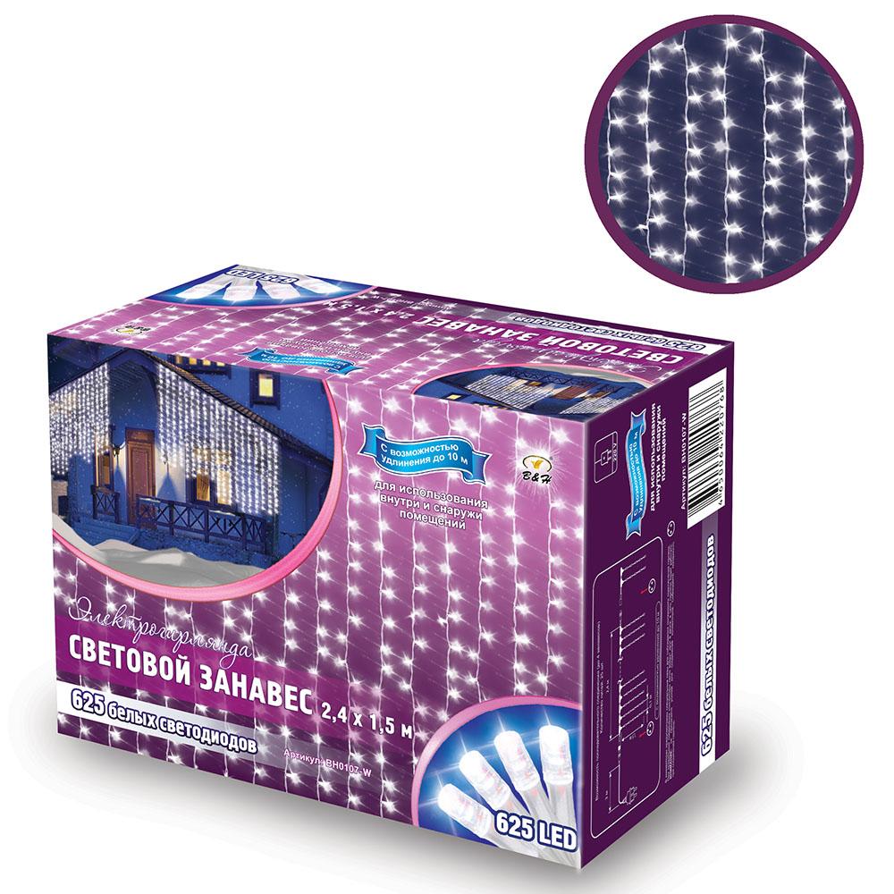 B&H Электрогирлянда Световой занавес 2,4х1,5 м, 625 белых светодиодов, для исп. внутри и снаружи помBH0107-WСветовой занавес (625 LED) идеально подходит для оформления: окон, витрин, стен, потолочных проемов. Эти электрогирлянды состоят из 24 декоративных нитей со светодиодами. Нити расположены на расстоянии 10 см. друг от друга, длина нитей 1,5 м. Имеют возможность последовательного подключения до 4 штук. Для использования внутри и снаружи помещений. Цвет: белый.