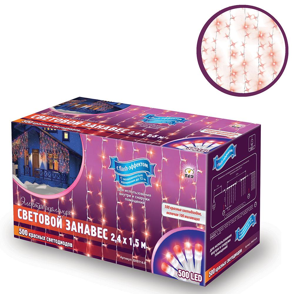 B&H Электрогирлянда Световой занавес,2,4х1,5 м,500 красных светодиодов,вкл 100 миг (с flash),снар и внутBH0114-RСветовой занавес идеально подходит для оформления: окон, витрин, стен, потолочных проемов. Длина основного шнура:2,4 м, длина нитей 1.5 м. Имеет возможность удлинения до 12 м (до 5 модулей). Занавес включает 500 красных светодиодов, включая 100 мигающих красных (с эффектом flash). Для использования внутри и снаружи помещений.