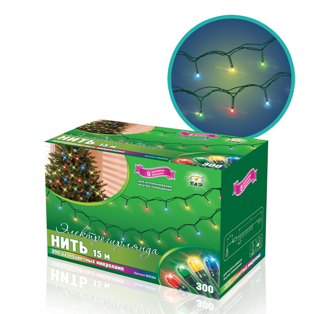 B&H Электрогирлянда Нить 15 м, 300 разноцветных микролампочек, для использования внутри помещенияBH0304Электрогирлянда представляет собой гибкий провод длиной 15 м, на котором расположены 300 разноцветных микролампочек. 8 режимов работы. Не является соединяемой.Для использования внутрит помещений.