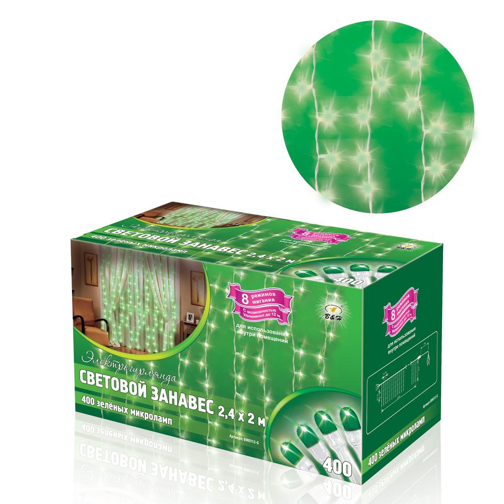 B&H Электрогирлянда Световой занавес, 2,4 х 2 м, 400 зеленых микролампочек, для использования внутри помBH0312-GЭлектрогирялнда Световой занавес 400 микроламп, размером 2,4 х 2м, соединяемый до 5 шт., с контроллером (8 режимов), 25 нитей, белый провод, цвет свечения: зеленый, сетевой шнур - 3 м. Для использования внутри помещений.