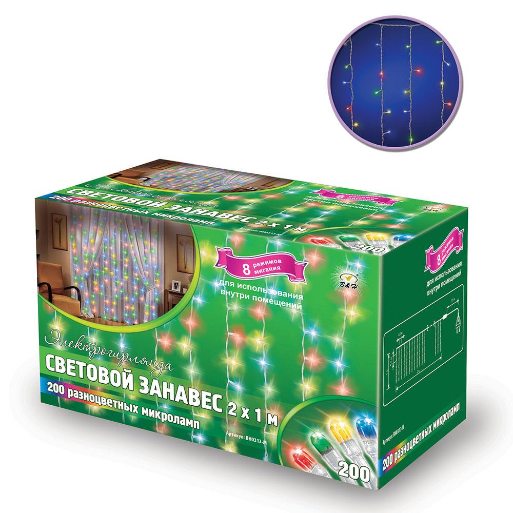 B&H Электрогирлянда Световой занавес, 2 х 1 м, 200 разноцветных микролампочек, для исп. внутри помещ.BH0313-MЭлектрогирлянда Световой занавес 200 разноцветных микроламп, размером 2 х 1м, с контроллером (8 режимов), 20 нитей, прозрачный провод, цвет свечения: мульти, сетевой шнур - 1, 5м. Для использования внутри помещений.